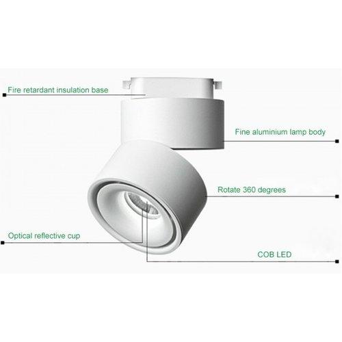 Lightexpert.nl LED Opbouwspot Zwart 15W Kantelbaar - 3000K - 1140 Lumen