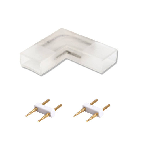Lightexpert.nl 2-Pins Hoekconnector voor LED Strip 180 LEDs - 10 Stuks