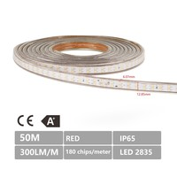 Lightexpert.nl LED Strip 50M - Rood - IP65 - 180 LEDs - Plug & Play