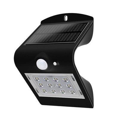 Solar Wandlamp Sensor - 3W - 4000K - 400 Lumen - Zwart