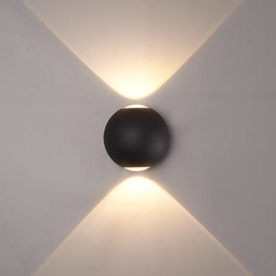 LED Wandlamp Globe Dubbelzijdig Lichtgevend Zwart  - 3000K -  6W - IP65