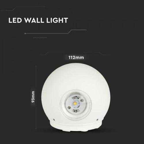 Lightexpert LED Wandlamp Globe Dubbelzijdig Lichtgevend Wit  - 3000K -  6W - IP65