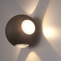 Lightexpert LED Wandlamp Globe Vierzijdig Lichtgevend Zwart  - 3000K -  4W - IP54