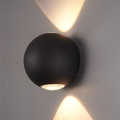 Lightexpert LED Wandlamp Globe Dubbelzijdig Lichtgevend Zwart  - 3000K -  2W - IP54