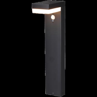 Solar Tuinlamp Paal Zwart Rechthoek - 6W - 2700K - 600 Lumen