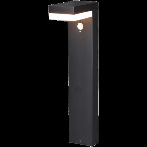 Lightexpert.nl Solar Tuinlamp Paal Zwart Rechthoek - 6W - 2700K - 600 Lumen