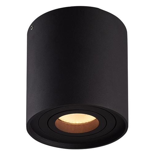 Lightexpert Dimbare LED Opbouwspot  - Rond - Zwart - 6,5W - 3000K - Kantelbaar - IP20