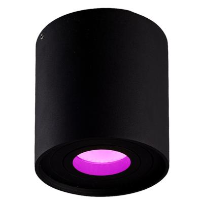 Smart LED Opbouwspot - Rond - Zwart  - 5W - RGBWW - Kantelbaar - IP20