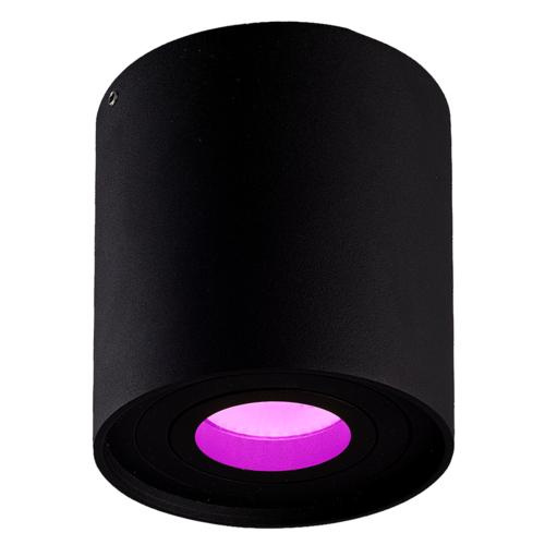 Lightexpert Smart LED Opbouwspot - Rond - Zwart  - 5W - RGBWW - Kantelbaar - IP20