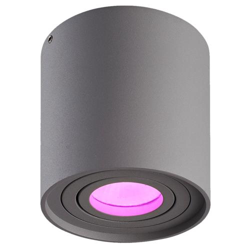 Lightexpert LED Opbouwspot - Smart WIFI - Grijs - Kantelbaar -Rond - IP20 - Inclusief Smart Spot