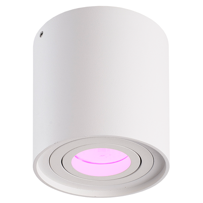 Smart LED Opbouwspot - Rond - Wit - 5W - RGBWW - Kantelbaar - IP20