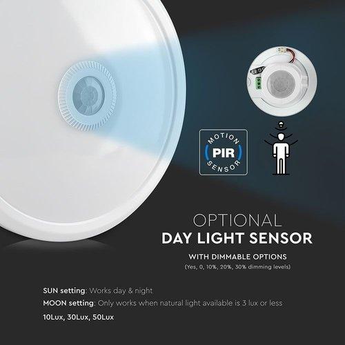 Lightexpert Samsung LED  Plafondlamp met Bewegingssensor - 12W - 6400K - 800 Lumen - Wit - Ø29 cm
