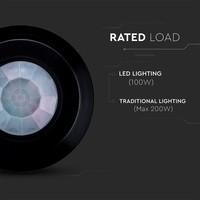 Lightexpert Zwarte  360° Bewegingssensor Met Schemerschakelaar 8M Bereik