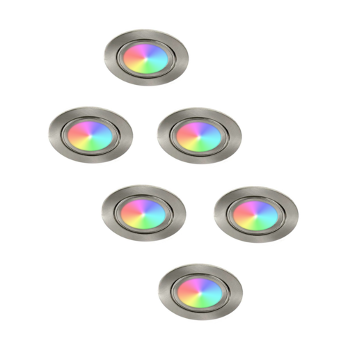 Lightexpert.nl LED Inbouwspots - Lublin - Smart WiFi - Dimbaar - RGBWW - 6 Pack