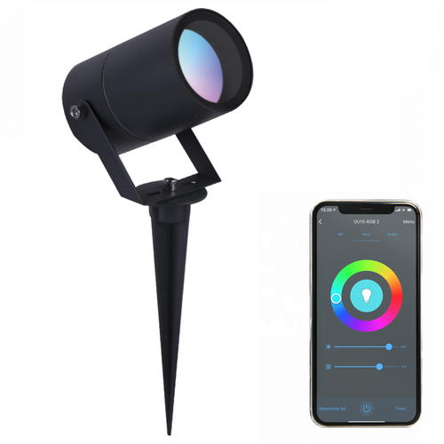 Lightexpert.nl Smart WiFi LED Prikspot – IP65 - GU10 Fitting - Zwart