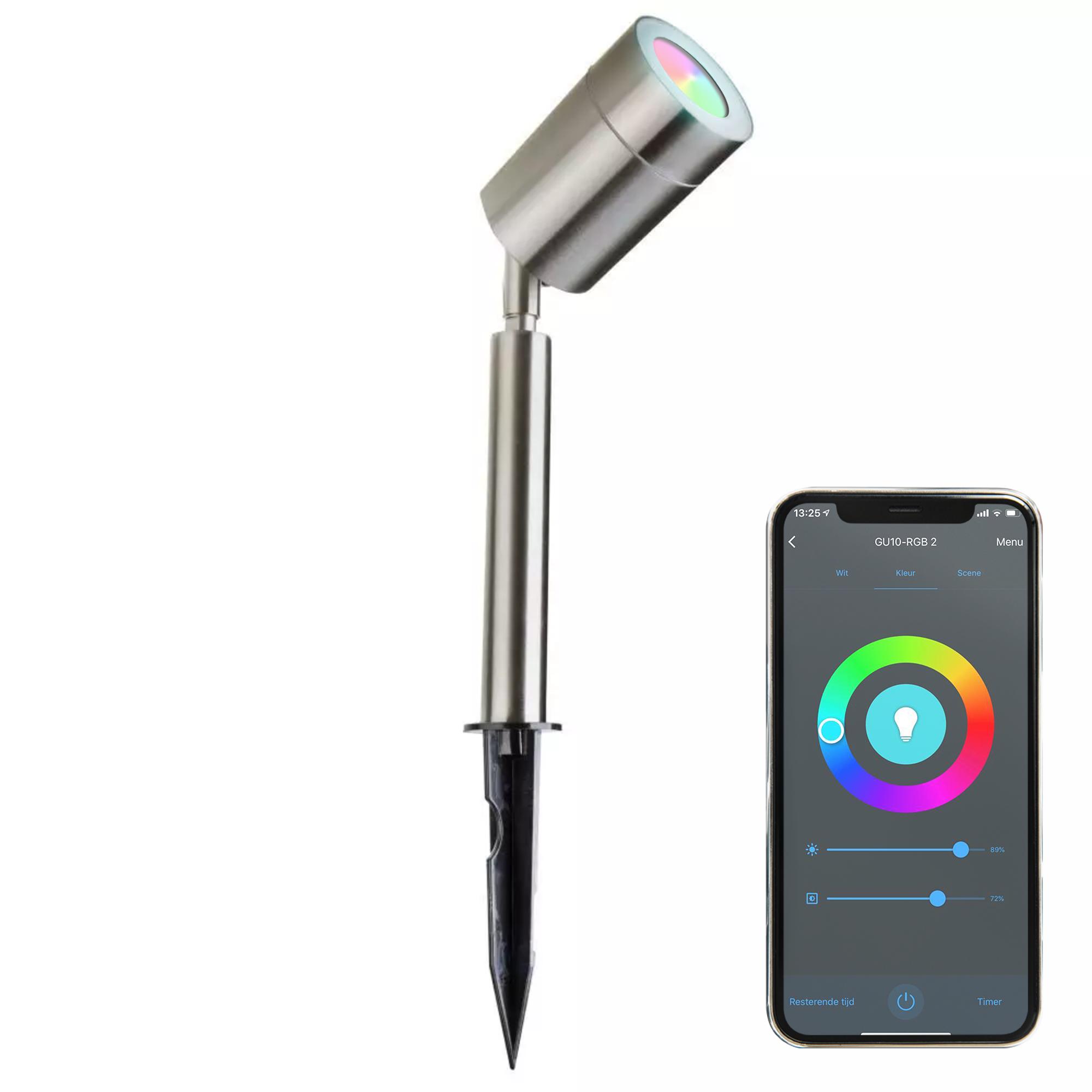 Smart WiFi LED Prikspot – IP44 - GU10 Fitting - RVS - SALE: 13%