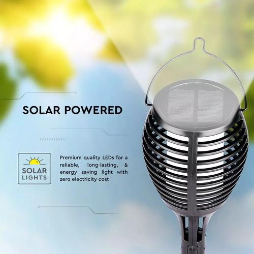 Lightexpert.nl LED Tuinfakkel Solar - Vlammeneffect & Schemerschakelaar - 50CM