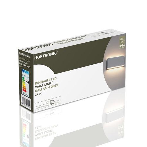 Lightexpert Dimbare LED Wandlamp Buiten Dallas M Grijs 3000K - 12W – IP54