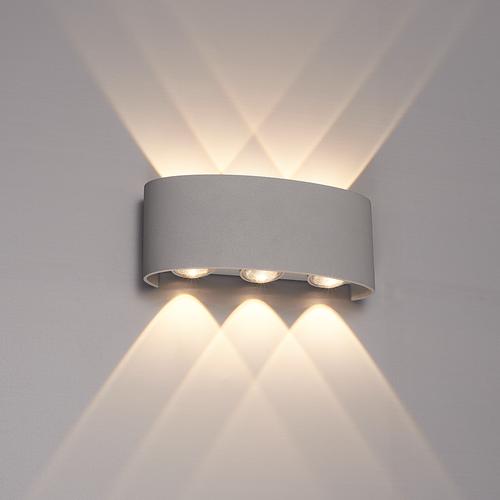 Lightexpert Dimbare LED Wandlamp Buiten Tulsa  Grijs - 3000K - 6W - IP54
