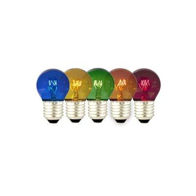 Gekleurde kogellamp - 5-pack - E27 - 15W - 240V