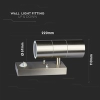Lightexpert.nl Buitenlamp Met Sensor - RVS - GU10 Up & Down