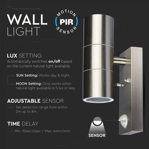 Lightexpert Buitenlamp Met Sensor - RVS - GU10 Up & Down