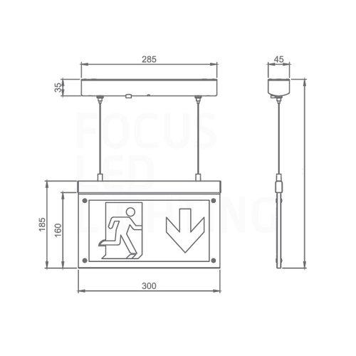 Lightexpert LED Noodverlichting Opbouw - Pendant - incl. testknop IP20 – 2W