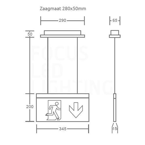 Lightexpert LED Noodverlichting Inbouw - Pendant - incl. testknop IP20 – 2W