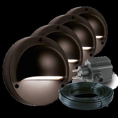 Wandlamp Buiten LED - Deimos Zwart 4 st. - 12V - 1W