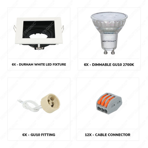 Lightexpert.nl LED inbouwspot Wit - Durham  - 5W - IP20 - 2700K - Dimbaar & Kantelbaar