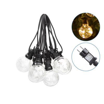 8m LED Prikkabel  - Lichtsnoer Buiten IP44 - 10 Transparante LEDs - 2700K Warm wit