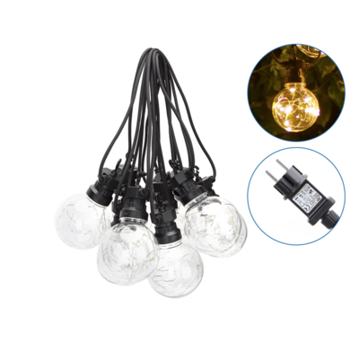 8m LED Prikkabel  - Lichtsnoer Buiten IP44 - 10 Transparante LEDs - 3000K Warm wit