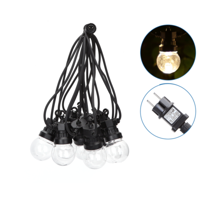 8m LED Prikkabel  - IP44 Lichtsnoer Buiten - Light String - 10 Transparante LEDs