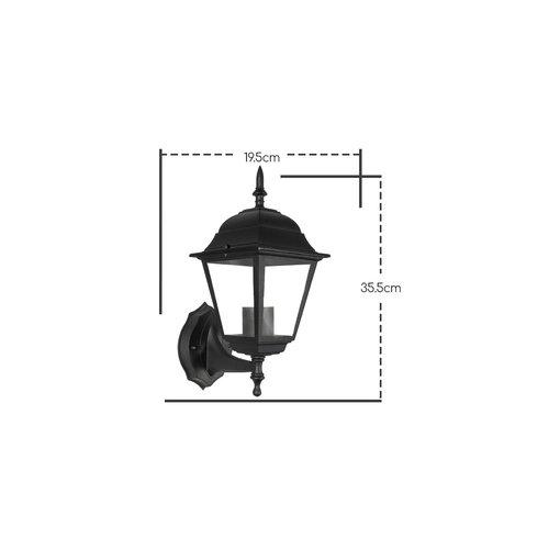 Lightexpert Klassieke Wandlamp Buiten Zwart - E27