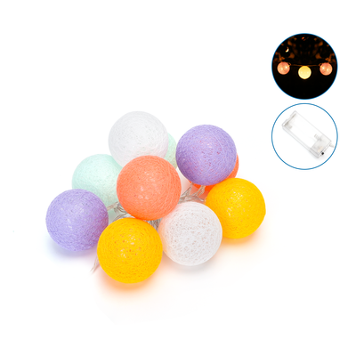 2m LED String Light - Lichtsnoer op Batterij - Prikkabel Binnen - Cotton Ball Lights Lichtsnoer