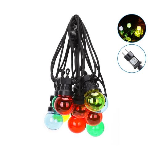 Lightexpert.nl 8m LED Prikkabel - IP44 Lichtsnoer Buiten - Light String - 10  gekleurde light bulbs