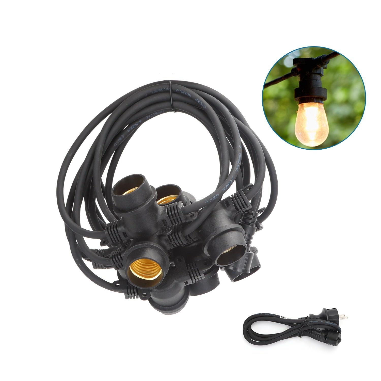 LED Prikkabel 6,5m - IP44 Lichtsnoer Buiten - Light String - 10 E27 Fittingen - SALE: 27%