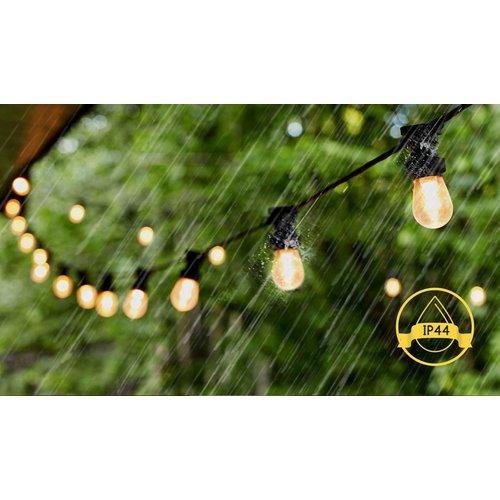 Lightexpert LED Prikkabel 6,5m - IP44 Lichtsnoer Buiten - Light String - 10 E27 Fittingen