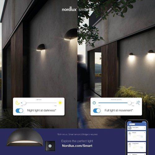 Nordlux Smart LED Wandlamp Buiten Grijs - IP54 9,5W LED - 2700K - Arcus