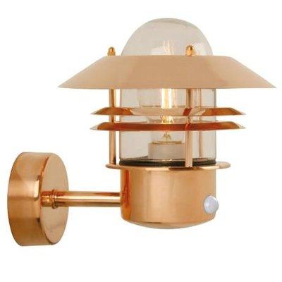 LED Wandlamp Buiten Sensor Koper-  E27 Fitting - Blokhus