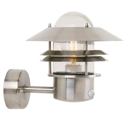 LED Wandlamp Buiten Roestvrijstaal Sensor-  E27Fitting - Blokhus