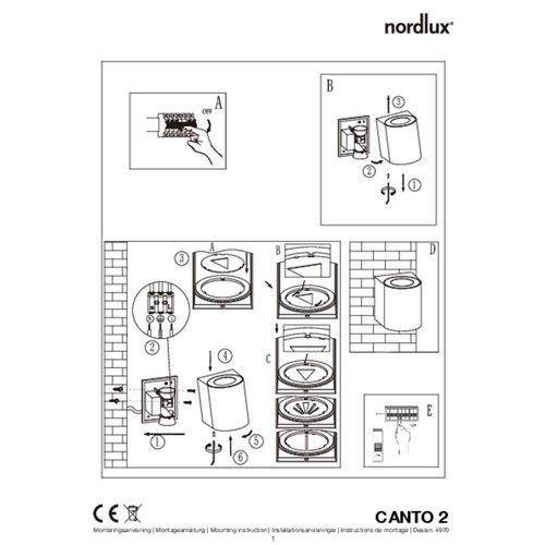 Nordlux LED Wandlamp Buiten Tweezijdig Grijs - 2700K - 2x6Watt LED - Canto 2