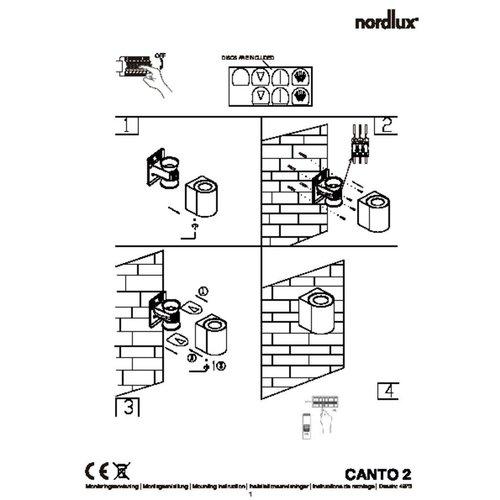 Nordlux LED Wandlamp Buiten Tweezijdig Gegalvaniseerd - 2700K - 2x6Watt LED - Canto 2