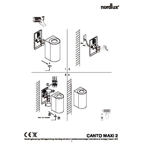 Nordlux Wandlamp Buiten Tweezijdig Roestvrijstaal - GU10Fitting- Canto Maxi 2