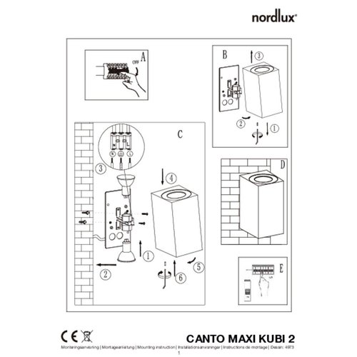 Nordlux Wandlamp Buiten Tweezijdig Wit - GU10Fitting- Canto Maxi Kubi 2