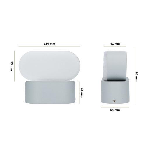 Lightexpert LED Wandlamp Buiten Ovaal Grijs - Kantelbaar - 3000K - 6W