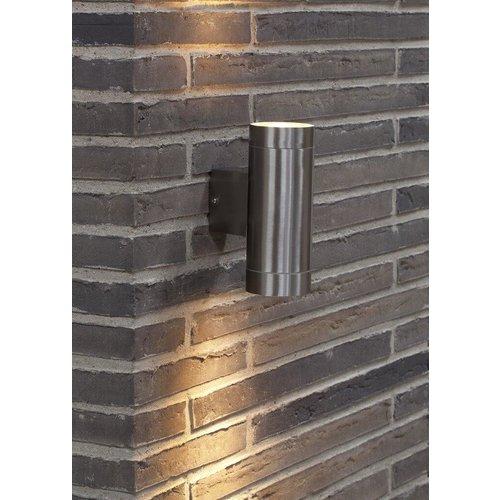 Nordlux Wandlamp Buiten Tweezijdig - Roestvrijstaal - GU10 Fitting - IP54 - Tin Maxi