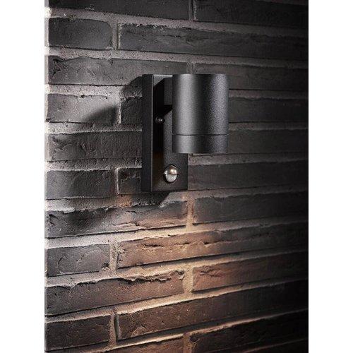 Nordlux Wandlamp Buiten Zwart Sensor - GU10 Fitting IP54 - Tin Maxi Sensor