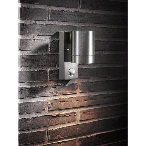 Nordlux Wandlamp Buiten Eenzijdig - Aluminium - GU10 Fitting - IP54 - Tin Maxi Sensor
