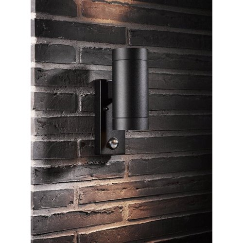 Nordlux Wandlamp Buiten Tweezijdig  - Zwart - GU10 Fitting - IP54 - Tin Maxi Sensor